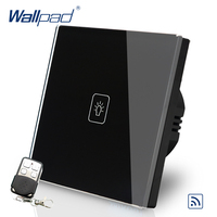 Wallpad EU Standard Touch Switch AC 110 250V Remote Dimmer Black Wall Light Switch With Remote