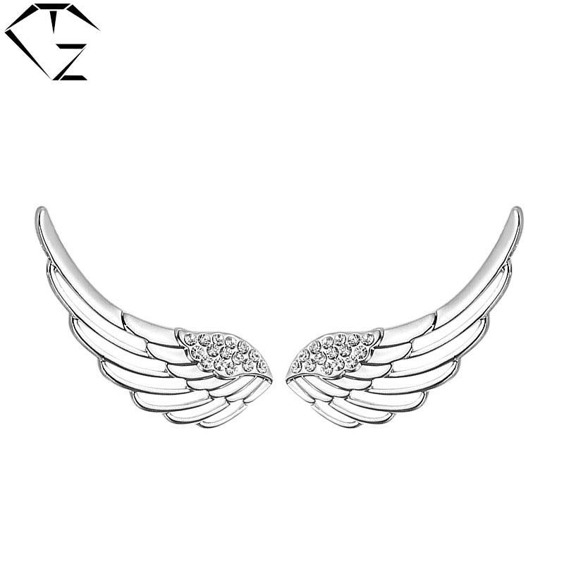 gz wing feather earrings 925 silver silver women jewelry 100 100 s925 sterling silver. Black Bedroom Furniture Sets. Home Design Ideas