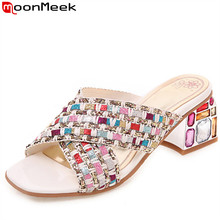 MoonMeek Large size 34-46 new summer sandals crystal square high heels
