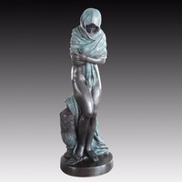 Europe Bronze statue woman outdoor garden Decor Large size sculpture Campus decortion Waiting girl