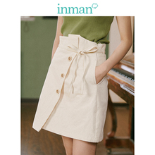 INMAN 2019 Autumn New Arrival Young Literary Style Lacing Button Slits A-line Women Short Skirt