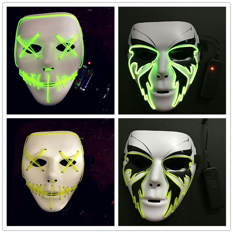 Shine Unisex Veil Halloween Costume Women Horror Mask Masquerade Ghost Dance Party Performance Costume Mask For Men Illuminate