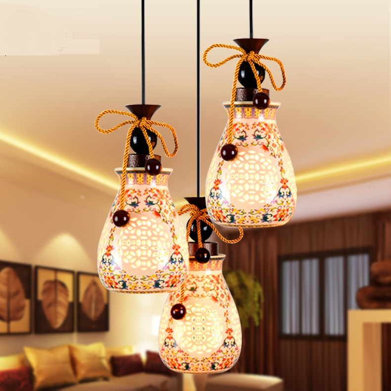 Ceramic Glass Chinese Style Hanging Lamp Living Room Dining Hall Bar Double