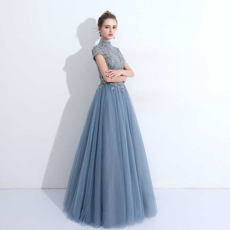 25172f5b1f0 ... Elegant Turtleneck Long Tulle Prom Dress Vintage Beaded Sequin Lace  Applique Ball Gown Formal Gowns New ...