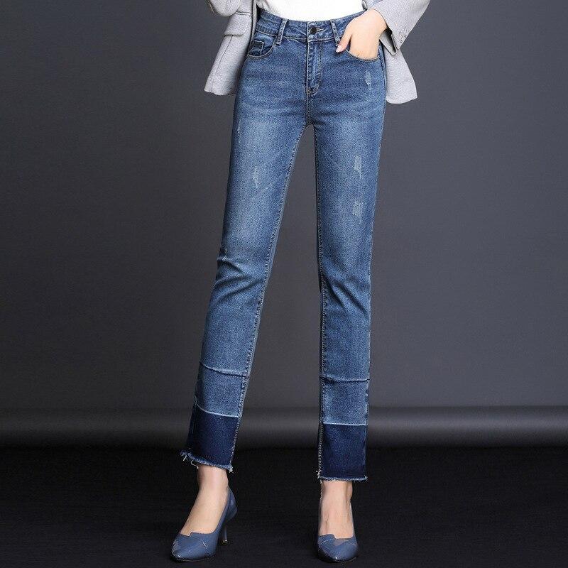 MAMAN Perle Jeans Femmes de haute Taille Maigre Crayon noir Denim Pantalon lavé Élastique Stretch sexy Jeans femmes de mode 1M201-206