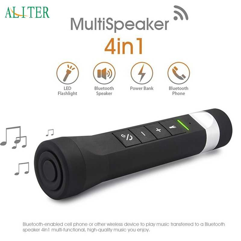 4 in 1 MultiSpeaker Wireless Outdoor Bluetooth Speaker Senter Torch Power Bank Dukungan TF FM jul20