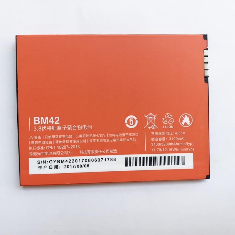 Battery-Bm42 Note Mobile-Phone Xiaomi Redmi Original Ce for Hongmi Rice Replacement 3200mah