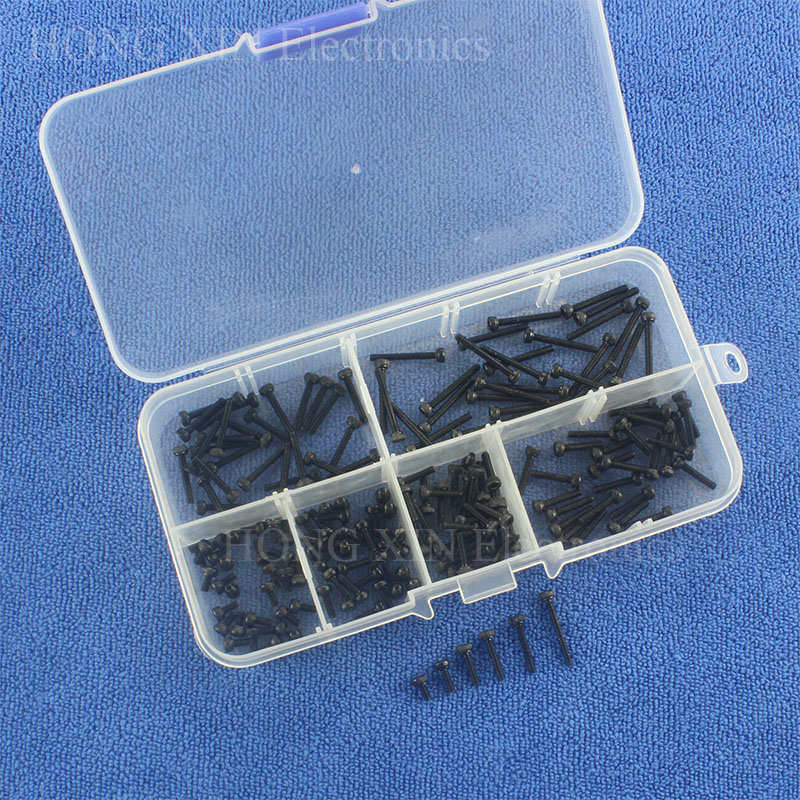 Black Carbon-Steel Cylinder Column Hex Hexagon Screw Set 180PCS/Set M2 Furniture Fastener Assorted Kit