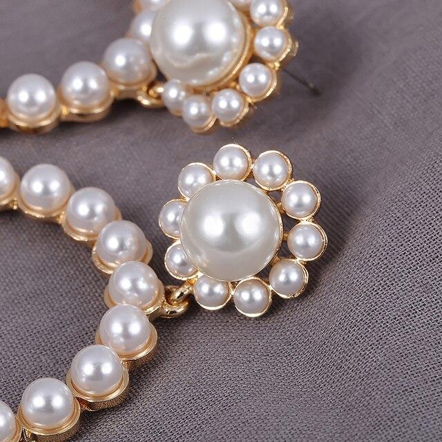 Trendy Crystal Round Pendant Pearl Drop Earrings For Women 5