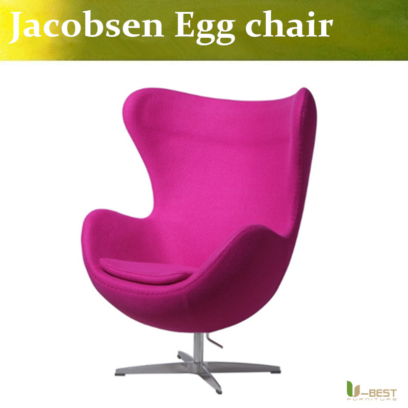 u best leisure arne jacobsen egg chair in red wool aluminum egg pod chair for the lobby and reception areas of the royal hotel U-BEST Modern Danish Furniture Arne Jacobsen Egg Chair For Fritz Hansen