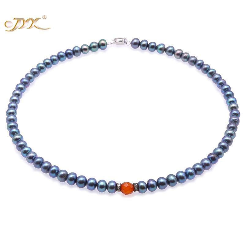 2019 Neuer Stil Jyx Bläulich Schwarz Nähe Runde 7,5mm Süßwasser Perle Halskette Mit Achat Choker Halskette Mit Perle Geschenke 16 Zoll- 100% Echt