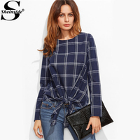 Sheinside Navy Plaid Grid Knot Front Blouse Autunm Round Neck Long Sleeve Tunic Blouse With Bow