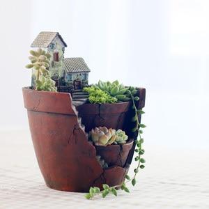 Image 5 - Roogo 植木鉢ミニ多肉植物ポットヴィンテージヨーロッパ植木鉢バイオニックガーデンポット家の装飾バルコニーの装飾プランターギフト