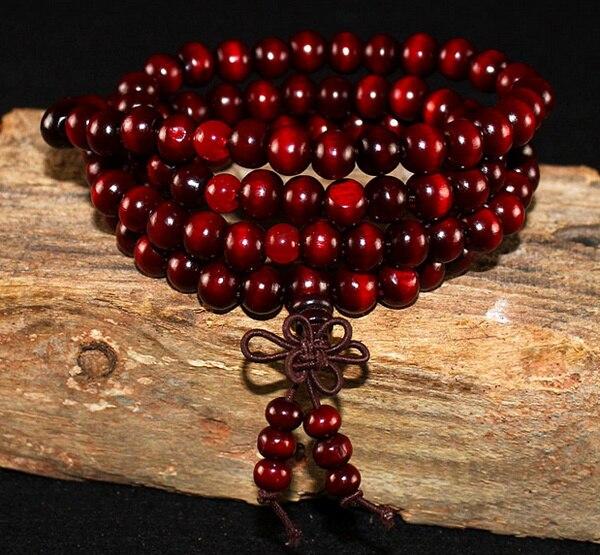 Natural Sandalwood Buddhist Buddha Wood Prayer Beaded Knot black ebony Unisex Bracelets & Bangles 3