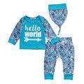 Recién nacido Niño Niños Baby Girls Outfit Ropa T-shirt Sombrero de Tops + Pants 3 UNIDS Conjunto