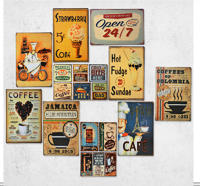 Vintage metal painting retro finishing coffee wall for Plaque deco cuisine retro