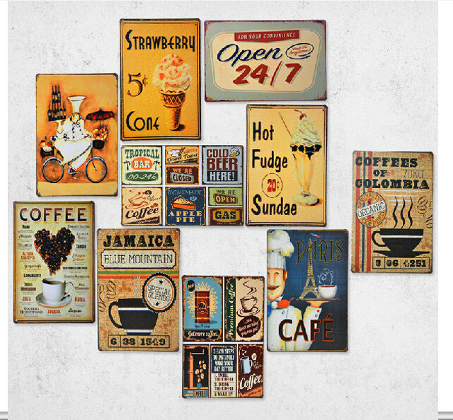 Vintage metal painting retro finishing coffee wall for Decoration murale wish