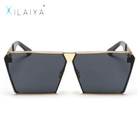 XILAIYA Fashion Designer Big Mirror Square Sunglasses 2017 Luxury HD Glasses UV400 Gradient Eyeglasses Frames For