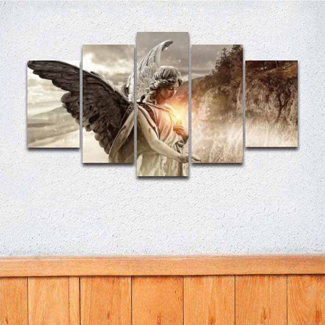 5 Panel Canvas Wall Art Angel Girl Wings Painting Modular Picture HD Prints  Artwork For Home