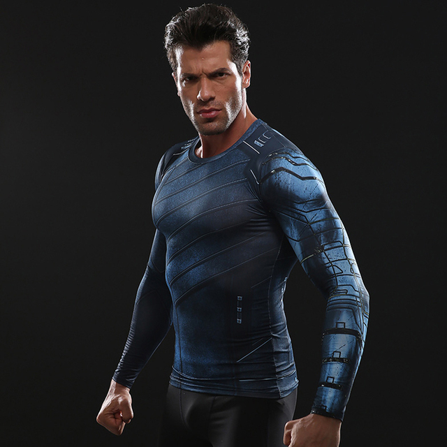 Avengers 3 Winter Soldier 3D Printed T shirts Men Compression Shirt 2018  Comics Cosplay Costume Long Sleeve Fitness Tops Male-in T-Shirts from Men's