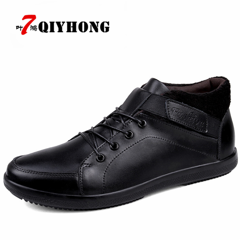 QIYHONG Autumn Winter Handmade Genuine leather Men Boots Warm Fur Plus Size Winter Shoes Lace Up Ankle Boots For  Zapatos Hombre