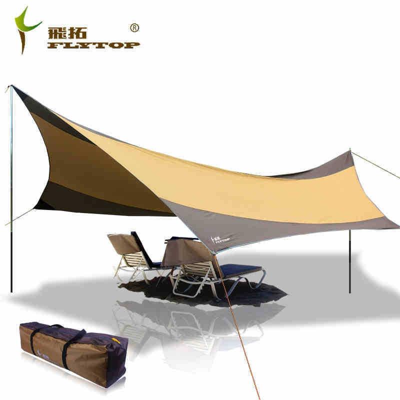 Flygtopp 5-8 personer 550 * 560cm regnskyddad strandfiske markis - Camping och vandring