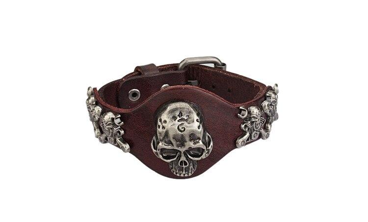 New Design Jewelry Multicolor Punk Rock Evil Skull Genuine Leather Wrap Bracelet for Women Men Ride Wristband Bracelets Cuff 11