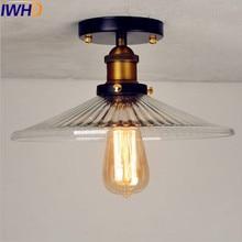 IWHD стеклянный Лофт винтажный Ретро потолочный светильник, светильник для гостиной, Светодиодный промышленный потолочный светильник, Lamparas De Techo