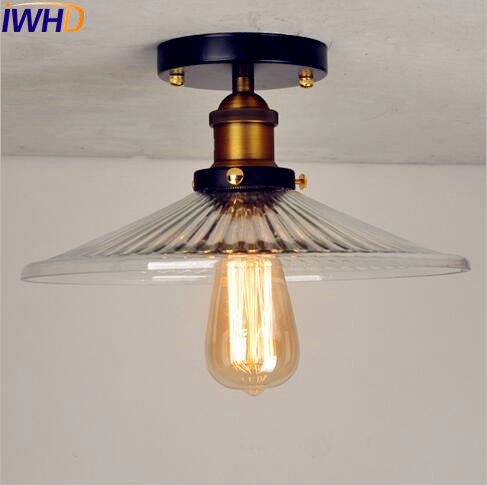 IWHD Glass Loft Vintage Retro Ceiling Light Fixtures Living Room Lighting Plafond LED Industrial Ceiling Lamp Lamparas De Techo modern led ceiling lights for living room bedroom foyer luminaria plafond lamp lamparas de techo ceiling lighting fixtures light