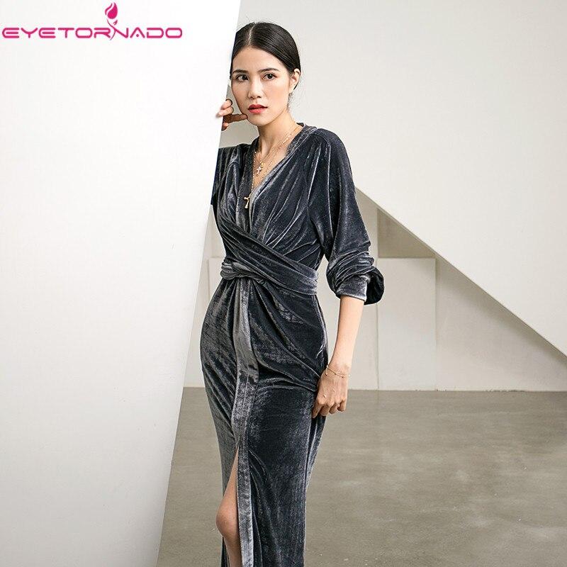 Deep V neck sexy bodycon bandage velvet dress women autumn split work party club ball formal maxi dresses high quality E7719