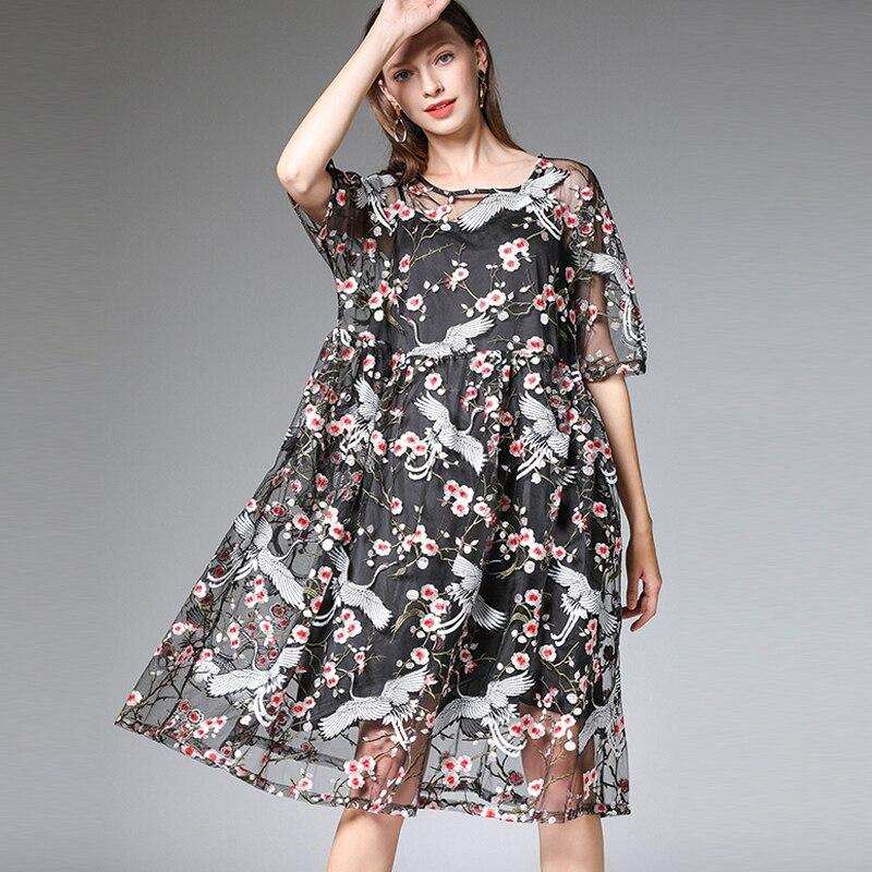Robe en dentelle été grande taille femme broderie oiseau fleur imprimer robes de plage femme mode surdimensionné dentelle boho robes de fête