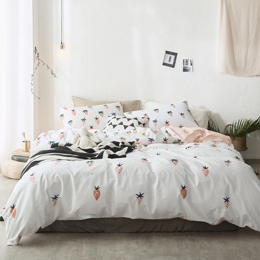 cute strawberry bedding set cotton adult teentwin full