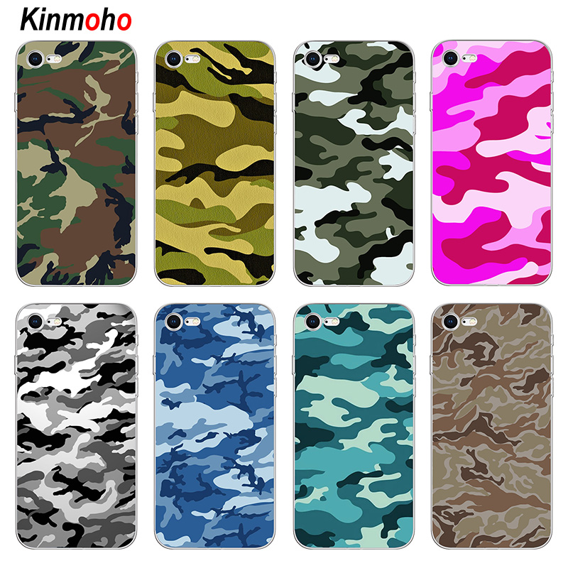Coque Camouflage militaire en silicone souple bleu rose neige Camouflage pour iPhone 7 X XR XS