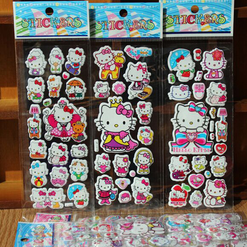50pcs/lot Hello Kitty Stickers Cartoon Foam Stickers Party Favors Toys For Kids Children Cute DIY Craft Scrapbook Stickers
