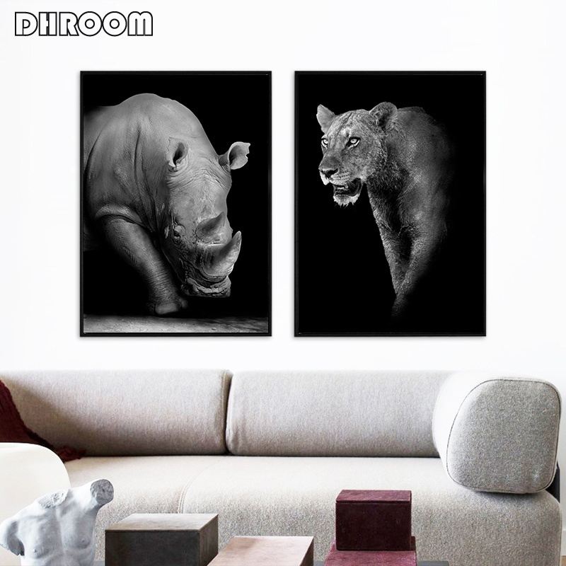 HTB1mHBLXUGF3KVjSZFvq6z nXXaY Canvas Painting Animal Wall Art Lion Elephant Deer Zebra Posters and Prints Wall Pictures for Living Room Decoration Home Decor