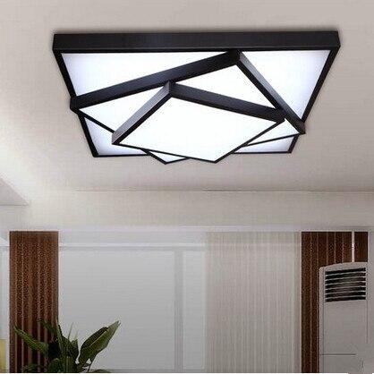 black/white frame square acrylic lampshade iron led ceiling light ...