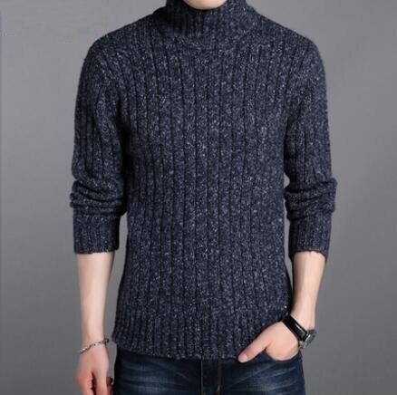 2018 Plus La Taille Pull Chandail Hommes D'hiver Chaud Laine Mince Remise En Forme Mâle Chandail Noir/Bleu Foncé/Vert Beige couleur 3XL 4XL