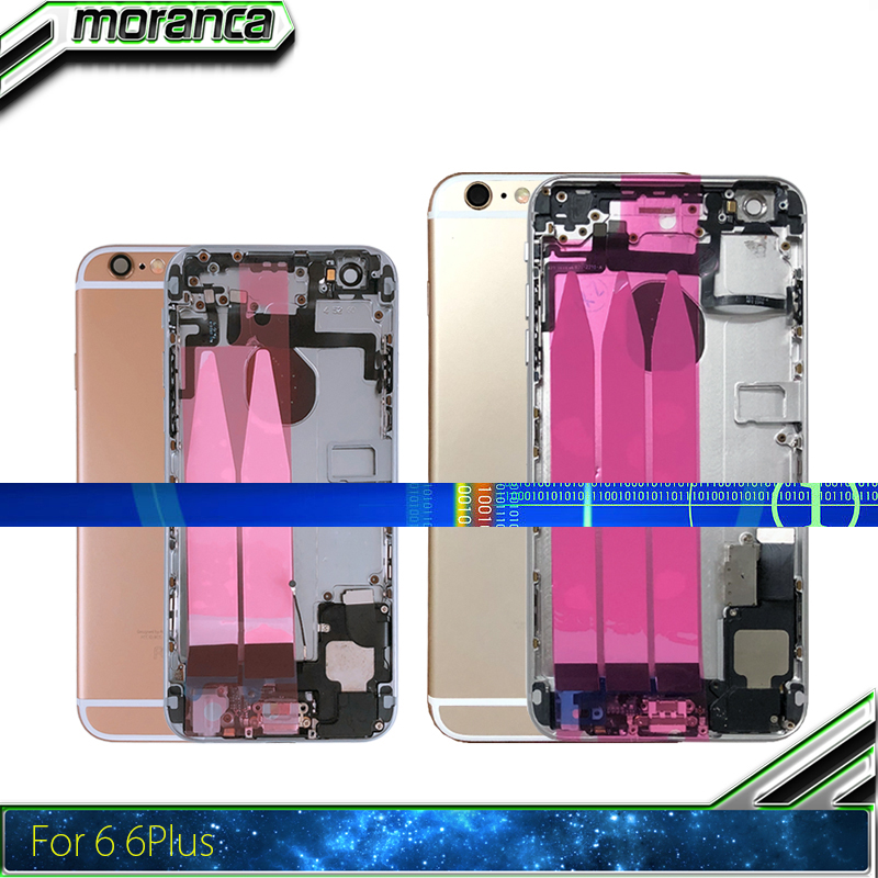 Full Housing For IPhone 6 6g Plus 6Plus Back Cover Middle Frame Chassis Assembly Battery Door Rear Chasis With Flex Cable Parts