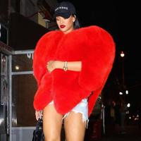 coats Stylish 3D Love Heart Shaped Cape Faux Fox Fur Thick Warm Celebrity Women Long Hairy Shaggy Coat Jacket Outerwear Winter