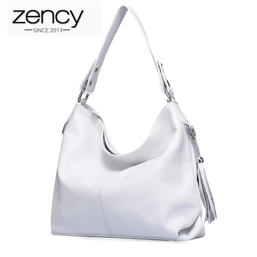 Zency 2018 Famous Brand Women Shoulder Bag 100% Genuine Leather Fashion Female Messenger Handbag Tassels Charm White Crossbody