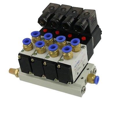 4V210-08 AC 220V Quadruple Solenoid Valve Mufflers 8mm Quick Fittings Base Set free shipping triple solenoid valve 4v210 08 2 position base muffler connect 6mm 8mm quick fitting valves set 1 4 bsp