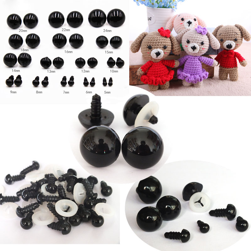 20pcs/40pcs 5-18mm Black Plastic Eyes Safety Eyes For Teddy Bear Soft Toy Animal Doll Amigurumi DIY Accessories-Toy Eyes