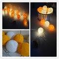 Bateria Operado quente laranja + Branco estilo Tailandês Algodão Bola led Luzes Cordas de Fadas, em casa, quarto, handmade, casamento, natal 20 p/sets