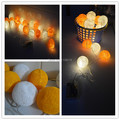Battery Operated warm orange+White Thai style Cotton Ball led String Lights Fairy ,home, bedroom, handmade,wedding,xmas 20p/sets