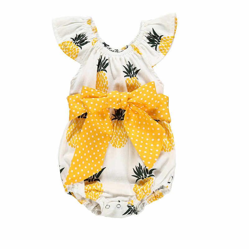 Коллекция 2019 года, одежда для маленьких девочек бант на Боди Новорожденные девочки с принтом ананаса, комбинезон с рукавами-крылышками, хлопковая одежда пляжный костюм принцессы для детей от 0 до 18 месяцев