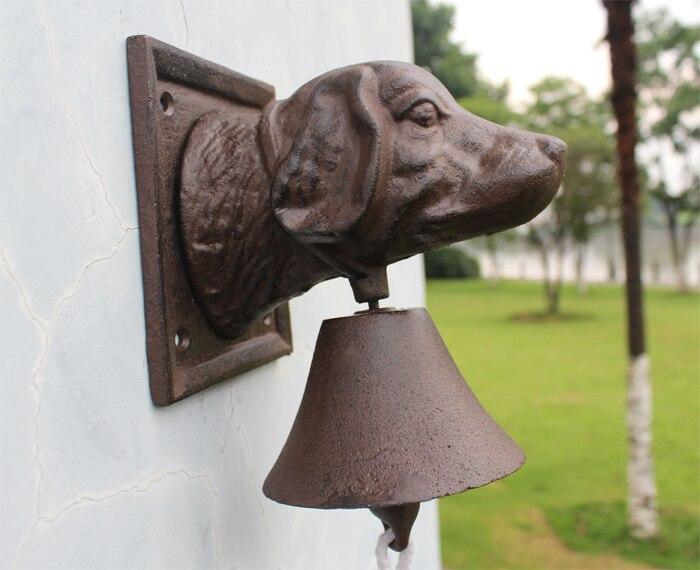 Vintage Cast Iron Dog Head Door Bell Doorbell Double Sided Brown