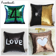Fuwatacchi Mermaid Sequin Printed Pillow Cover Throw Pillows Solid Customize Cushion Decorative for Sofa Car