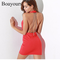 Boayours Sexy Halter Backless Evening Party Dresses Silver Chain Deep V Neck Sleeveless Off Shoulder Bodycon