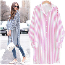 Fashion Women's Long Red Plaid Loose Casual Shirt Full Sleeve Turn Down Collar Cotton Blends Top Clothing