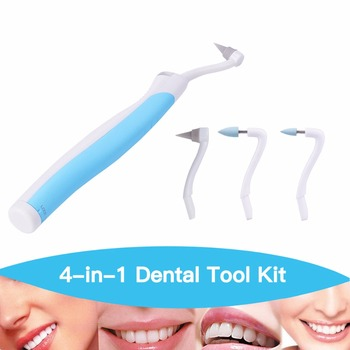 1 set 3 heads Teeth Whitening Sonic Vibration LED Light Dental Pick Stain Eraser dentist tool Kit remove tartar gums massage S37